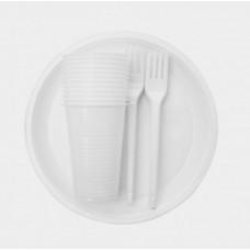 Набор Пикник. Состав: Тарелка белая d 205, стакан белый  200 мл, вилка столовая- все по 6 штук, арт. 71014