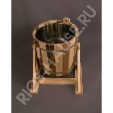 "Обливное устройство 20 л с переливом и нержавеющей вставкой ""Zebra"" термо (липа) в коробке ТМ ""Бацькина баня"", арт. 30363"