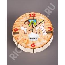 Часы-бочонок «Русская баня с женщинами»