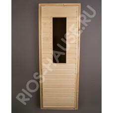 """Дверь глухая со стеклом(цвет бронза, каленое)  1900х700, класс А, коробка из липы, ТМ """"Бацькина баня"""", арт. 30404"""