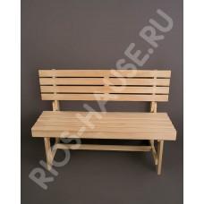 "Скамейка со складной спинкой для бани(1250*320*450) ТМ ""Бацькина баня"", арт. 30917"