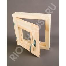 """Окно-форточка 300х300 мм(двойное полированное стекло, с ручкой, затвором, петлями, липа) ТМ """"Бацькина баня"""", арт. 30390"""