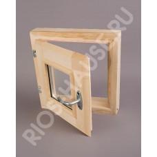 """Окно-стеклопакет 300х300 мм (2 стекла, с ручкой, затвором, петлями, липа) ТМ """"Бацькина баня"""", арт. 30383"""