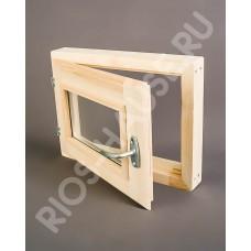 """Окно-стеклопакет 400х500 мм(2 стекла, с ручкой, затвором, петлями, липа) ТМ """"Бацькина баня"""", арт. 30386"""